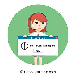 call center woman with pc message in circle background