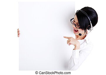Call center worker holding blank sign board