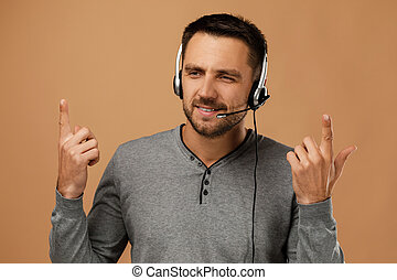 Call center worker man on white background.