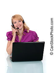 Call center worker with laptop