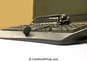 CALL CENTRE 1 - A headset and a keyboard in a call centre