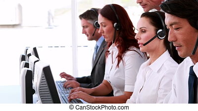 Call centre agents working