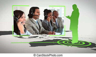 Call centre all around the world wi - Animation with call...