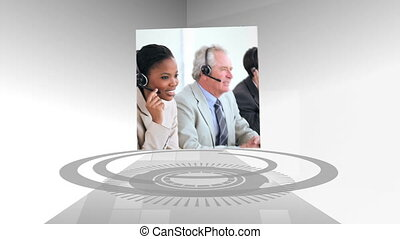 Call centre and business montage on grey digital background
