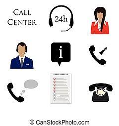 Call centre icon set - Call center icon set. Information,...