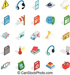 Call centre icons set, isometric style - Call centre icons...
