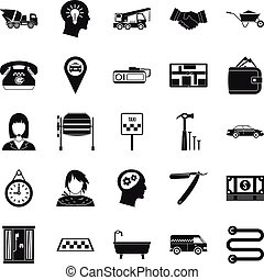 Call centre icons set, simple style - Call centre icons set....