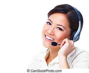 Call centre operator. Chinese businesswoman.