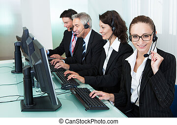 Call centre operators - Line of professional stylish call...