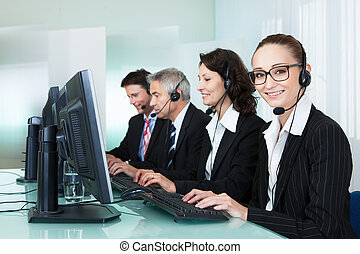 Call centre operators - Line of professional stylish call...
