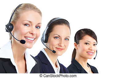 Call centre. - Smiling business woman with headset. Isolated...