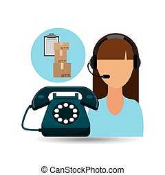 call centre woman working clipboard cardboard box vector...