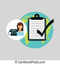 call centre woman working globe check list vector...