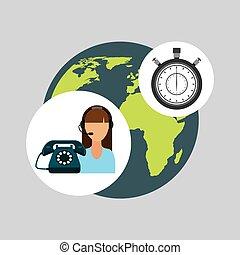 call centre woman working globe clock vector illustration...