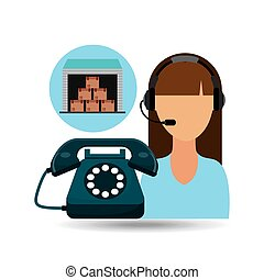 call centre woman working storage package vector...