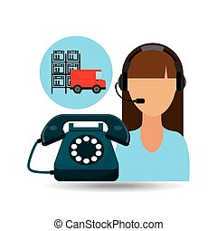 call centre woman working warehouse truck vector...