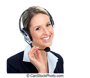 Call customer center operator woman.