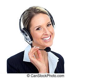 Call customer center operator woman.