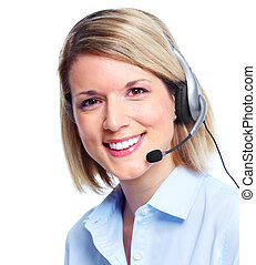 Call customer center operator. - Young Call customer center...
