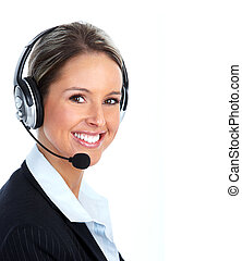Call customer center operator. - Young Call customer center...