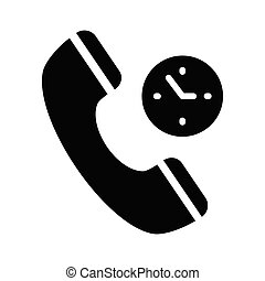 call duration glyph flat vector icon