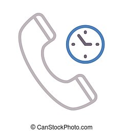 call duration thin color line vector icon