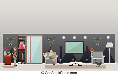 Call-in radio programme concept vector flat illustration -...