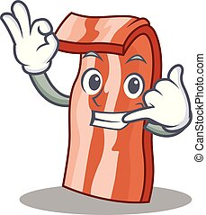 Call me bacon mascot cartoon style vector illustration