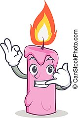 Call me candle character cartoon style vector illustration