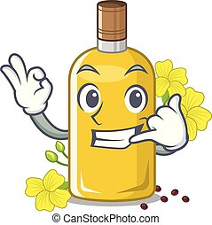 Call me canola oil poured into cartoon glass vector ...
