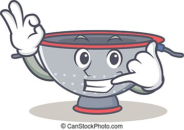 Call me colander utensil character cartoon vector...