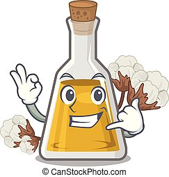 Call me cottonseed oil at the cartoon table vector ...