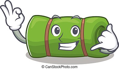 Call me cute face camping mat Scroll mascot cartoon design....