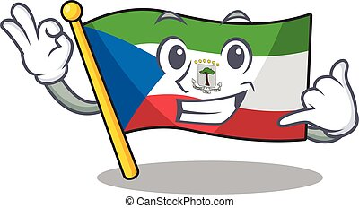 Call me cute face flag equatorial guinea Scroll mascot ...