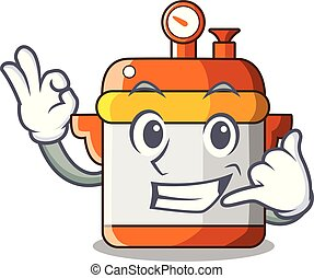 Call me electric pressure cooker isolated on mascot
