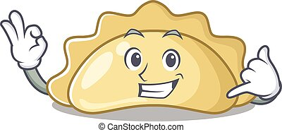 Call me funny pierogi mascot picture style. Vector illustration