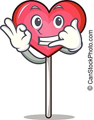 Call me heart lollipop mascot cartoon vector illustration