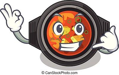 Call me kimchi tighe above the cartoon table vector...