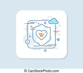 Call me line icon. Sweet heart sign. Valentine day love. Vector