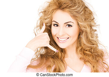 call me - picture of lovely woman making a call me gesture