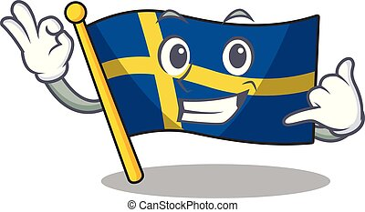 Call me swede flags flutter on character pole vector ...