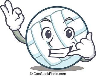 Call me volley ball character cartoon vector illustration