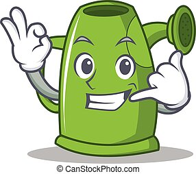 Call me watering can character cartoon