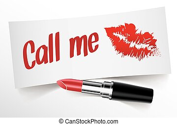 Call Me written on note by lipstick with kiss