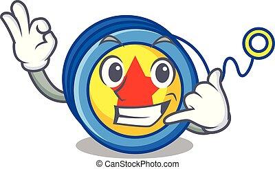 Call me yoyo mascot cartoon style vector illustration