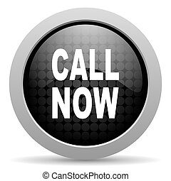 call now black circle web glossy icon