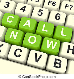 Call Now Computer Keys In Green For Helpdesk Or Assistance