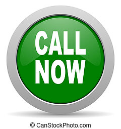 call now green glossy web icon