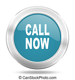 call now icon, blue round glossy metallic button, web and mobile app design illustration