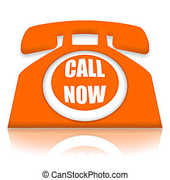 Call Now orange telephone over white background